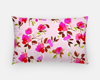 Oblong Pillow: Dizzy Pink Floral