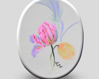 porcelain tile/painting/hand-painted/tulips/art/home decor/wall decor/display/gift item