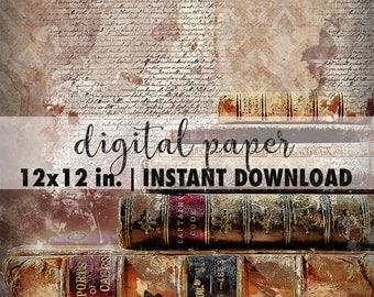 12x12 digital paper, premade scrapbook pages, 12x12 art print, scrapbook vintage paper, scrapbook background download, antique books