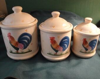 Vintage 3 Piece Ceramic Kitchen Rooster Design Canister Set, Home Decor.
