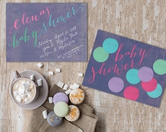 Baby Shower Invitations with Paper Lanters / PRINTED 5x7 Baby Cards / Watercolor background & Calligraphy / Pastel Baby Shower
