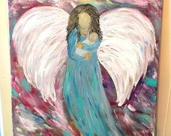Guardian Angel- Angel Wings- Acrylic Angel Painting- Angel Decor- Angels- Angel Art- Angel Wings Wall Decor- Miscarriage Angel - Infant Loss