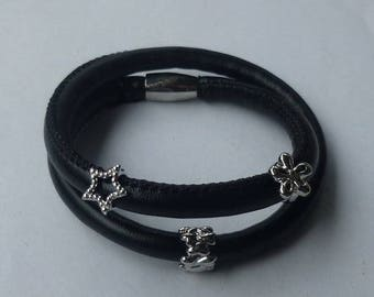"15"" Double Black Wrap Faux Leather/Vegan Friendly Charm Bracelet w/Magnetic Closure - Can Also Be Used as a Choker"