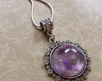 Genuine Raw Amethyst Set In Resin Necklace Purple Lavender Gemstone February Birthstone Flowers