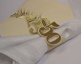 Gold Glitter 50 Napkin Holders, 12pcs