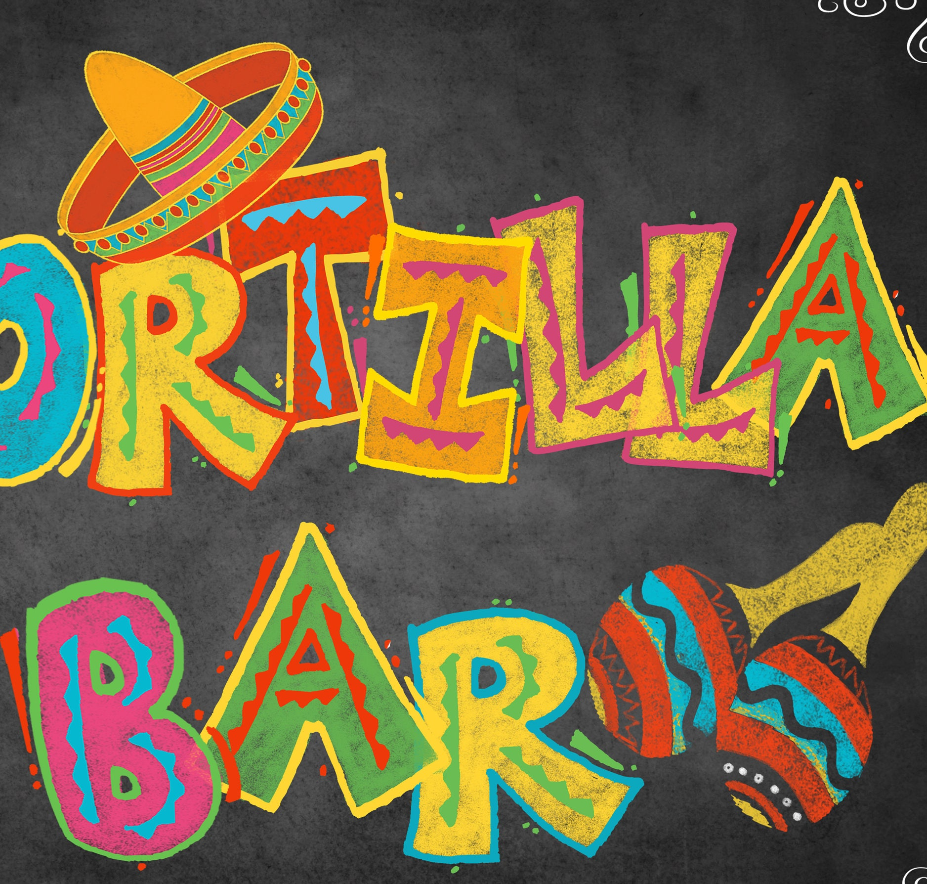 Printable Fiesta Tortilla Bar Sign Fiesta Sign Mexican