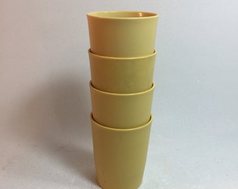Vintage Tupperware Harvest Gold Colored Small 6 Oz. Tumblers Set of 4