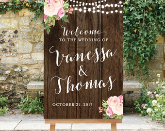 Printable Wedding Welcome Sign Rustic Welcome Sign Large Wedding Sign Reception Sign Rustic Floral Sign The Savannah