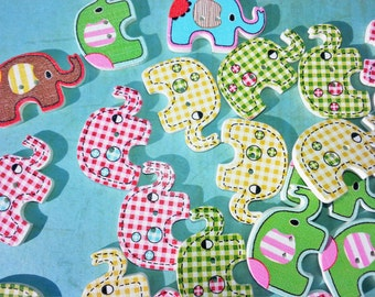 ELEPHANT BUTTONS,Novelty Elephant Buttons,Painted CRAFT Buttons,Craft Supply,Scrapbook Supply,Wood Crafts,Sewing Buttons,Sewing Notions