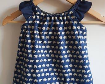Girls Navy Elephant Print  Dress - Age 12-18m