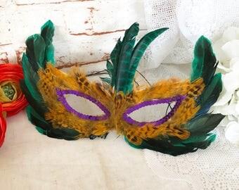 Turquoise Feather Masquerade Mask w/ sequins, Mardi Gras Halloween Costume, Masque, Purple Green Yellow, Paper Cardboard, Halloween decor