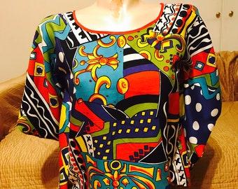 Kaftan Blouse, Multicolored Kaftan Blouse, 90s inspired blouse, Size Medium