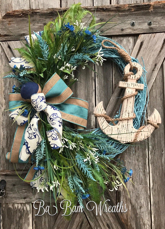 Anchor Wreath Nautical Wreath Beach Wreath Nautical Decor