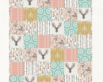 Girls Woodland Crib Bedding Stag Baby Toddler Patchwork Quilt Pink Aqua Gold Crib Skirt Sheet Deer Feathers Arrows Buck Rail Cover Organic