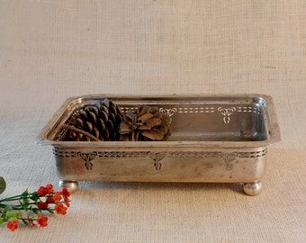 Serving old tray, silver-plated metal,  Period: 40s