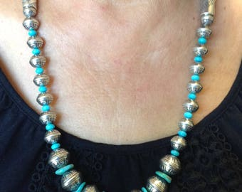 Silver Stamped Beaded Necklace with Turquoise