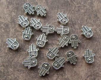 20 Antique Silver Cute Hamsa Hand Beads 12x10x4mm