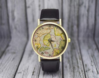 Antique North Pole Map Watch | Cartography | Leather Watch | Ladies Watch | Men's Watch | Gift Idea | Custom Watch | Fashion Accessory