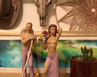 Mid Century Art Deco Alexander Backer Large Chalk Ware Topless Couple