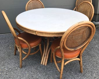 Vintage 1970s Bamboo and Rattan Dining Table and 5 Chairs