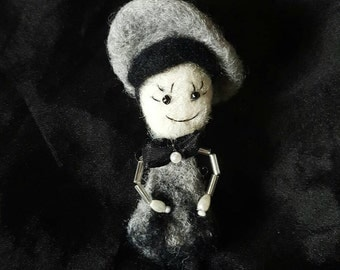 Needle felted brooch doll
