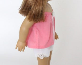 18 inch girl doll clothes - Summer Fun: Lace inset denim shorts with sleeveless blouse