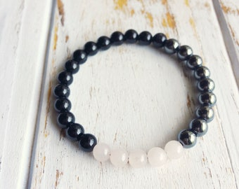 Healing the Bones, Rose Quartz Hematite Black Onyx Yoga Jewelry Intention Bracelet Healing Jewelry