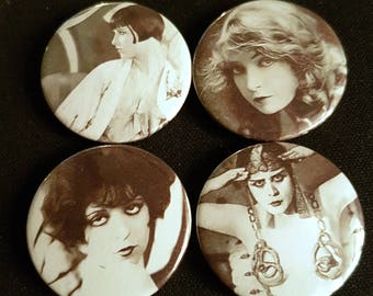 Silent Movie Sirens: Set of 4 25mm button badges inspired vintage Hollywood glamour