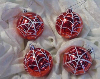 Set four 60mm Shatterproof hand painted spiders web Xmas baubles