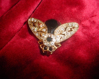 Black Insect Brooch With Gold Wings and Rhinestones