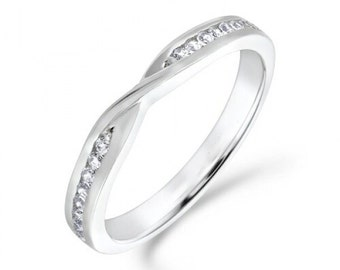 Handmade Diamond Crossover Ring, 0.12ct, Wedding Band, Engagement Ring