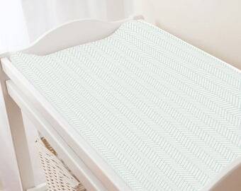 Carousel Designs White and Mint Classic Herringbone Changing Pad Cover
