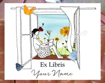 "Bookplate stickers ""Window"", personalised ex libris, custom bookplate, custom exlibris, personalised bookplate stickers, bookplates"