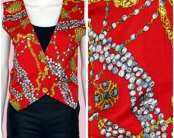 Red Vest Vintage 90s Glam Retro Red Top Baroque Print Shirt Medium