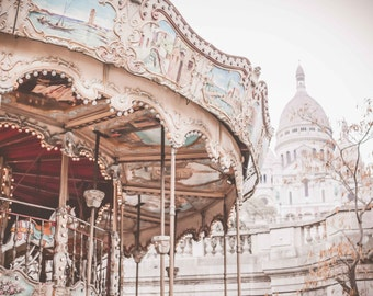 Paris Photography, Carousel in Paris, Winter in Paris, French Travel Photograph, Wall Decor, Sacre Coeur, Montmartre, Romantic