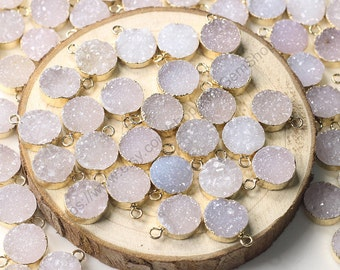 12mm Round Druzy Pendants -- With Electroplated Gold Edge Druzzy Drusy Geode Dainty Charms Wholesale Supplies Handmade CQA-001