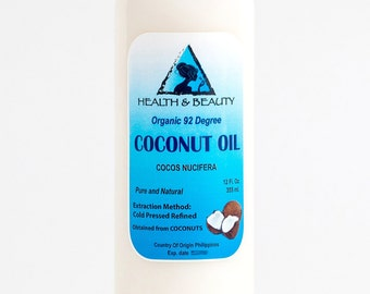 12 oz COCONUT OIL 92 DEGREE Organic Carrier Cold Pressed Ultra Refined 100% Pure