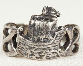 Galleon Ship Silver Ring Midcentury Scandinavian