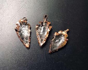 Rock Crystal Quartz Arrowhead Arrow Head Pendant in Rose gold Plated Wholesale price of 1, 3, 5, 10 (S8_B20)