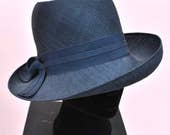 Vintage 60s Navy Blue Straw Hat • Wedding Hat • Occasion Hat • 40s Style Hat
