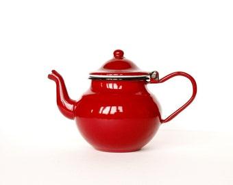 Enamel Teapot, iron teapot, red teapot, tea time, iron kettle, Vintage enamelware, Enamel coffee pot, Vintage pitcher, farmhouse decor