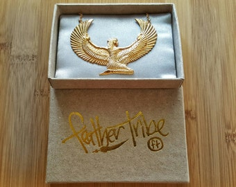 Gold Isis Necklace - Medium - Egyptian Goddess - Free Gift Box and Free Tracked Shipping-  Feather Tribe