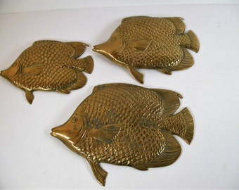 Brass Fish Wall Ornaments, Vintage Made In Korean Set Of 3 Brass Fish, Wall