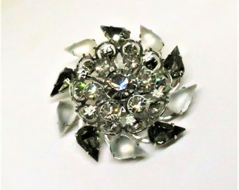 Rhinestone Brooch - Vintage, Silver Tone, Smoky Gray and Frosted Rhinestone Pin