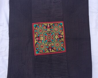 """Traditional, hand-embroidered cushion cover, 15""""x15"""", from India, with silk border and pack, zip close"""