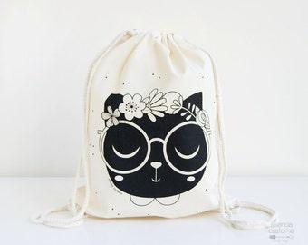 "SALE -30% Cotton Backpack Tote ""Black Cat"" screen printed Illustrated bag, Cat backpack, natural bag"