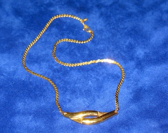 Vintage Monet Abstract Gold Tone Choker Serpentine Chain Necklace 15 inch