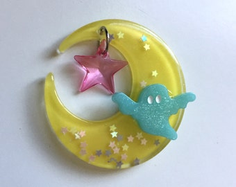 Moon and Ghost with Star Charm Hair Clip (yellow, pink and blue)