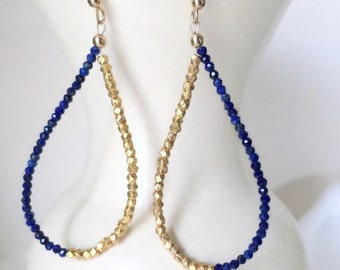Tear Drop Hoops-Blue Summer Earrings-Sister Blue Jewelry-Wifes Blue Earrings-Boho Jewelry Edgy-New Girlfriend Gifts-Gifts for my Wife-Gold