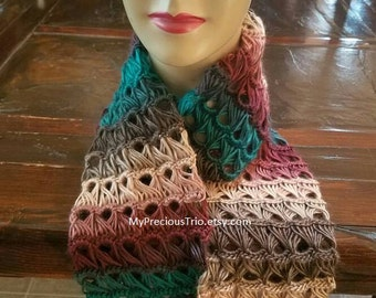 Crochet broomstick lace infinity scarf